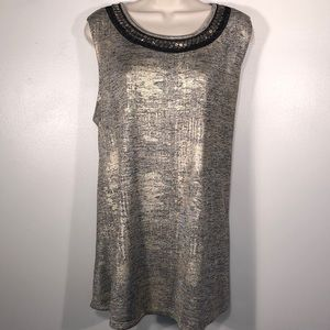 🆕 AVENUE GOLD AND BLACK METALLIC SLEEVELESS TOP